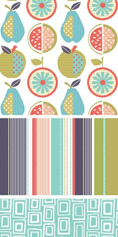 wendy kendall via print & pattern- not too sure how I feel about geometric prints but this is cute. Pattern Dots, Doodle Pattern, Pattern Texture, Fruit Pattern, Surface Pattern Design, Textile Patterns, Textile Design, Fabric Design, Textiles