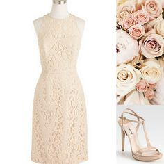 Style, Inspiration, & Design Beige Lace J Crew with T-strap heel and blush bouquet