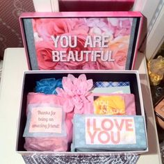 I just finished this I love you Care Package from a best friend. Looking to give an I love you care package called a YouAreBeautifulBox for a wife or girlfriend checkout our etsy