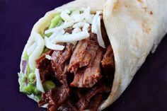 "Crock pot shredded beef tacos. One pinner said: ""I cannot even describe how delicious these were! We added sour cream, guacamole, mozzarella cheese, and shredded lettuce to ours."" On low...4-6 hrs"