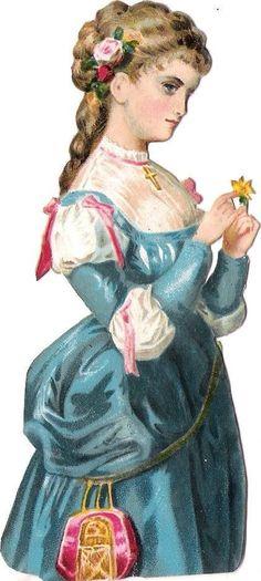 Oblaten Glanzbild scrap die cut chromo Dame Lady femme Blume flower Rose