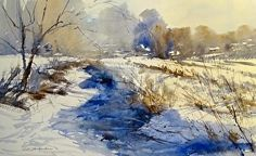Winter by Sandy Strohschein Watercolor ~ 15 x 22