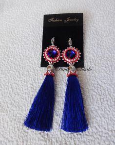 Long Tassel Earrings Extra Long Earrings Statement Earrings Bohemian Earrings Boho Jewelry Royal Blue Earrings Unique Gift for Women by Dianabiser on Etsy