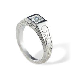 Velouria, Edwardian style engraved engagement ring with flush set diamond