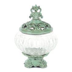 Mini Teal Potpourri Jar at Kirkland's Pot Pourri, Rustic Shabby Chic, Apothecary Jars, Simple Elegance, Vases Decor, Coastal Decor, Home Accents, Glass Jars, Vintage Decor