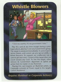 Whistle Blowers Illuminati CCG Assassins Plot Card. Illuminati: New World Order (INWO) is a collectible card game (CCG) that was released in 1995[1] by Steve Jackson Games, based on their original boxed game Illuminati, which in turn was inspired by The Illuminatus! Trilogy. INWO won the Origins Award for Best Card Game in 1997.