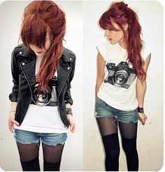 Love this graphic tee paired with jean shorts, tights and a sweet leather jacket!