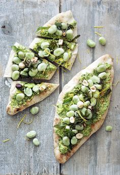 Super Green toast with wild spring vegetables, beans, nuts and avocado & herb butter