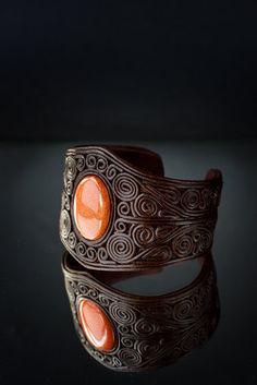 Leather Cuff, Unique design Wristband, Semiprecious stones, Filigree, Aventurine, Hand Made, Brown, Bracelet.