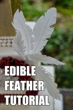 Edible Feather Tutorial: This easy instructional post shows you how to make your own edible feathers using wafer paper.