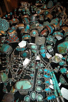 An impressive turquoise jewellery collection. Many pieces appear to be from '60's and '70's, some much older.