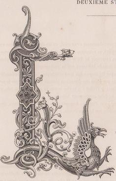 Monogramma, cifre, lettera L con drago bulino del 1882 in Arte e antiquariato…