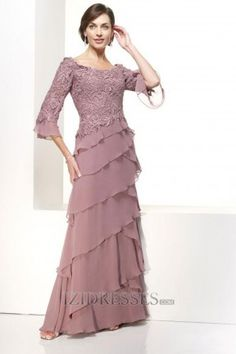 A-Line Princess High Neck Chiffon Mother Of The Bride Dresses - IZIDRESSES.COM