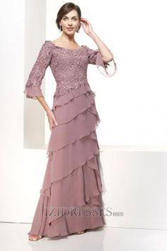 A-Line Princess High Neck Chiffon Mother Of The Bride Dresses - IZIDRESSES.COM