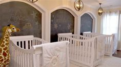 Make way for triplets! Nursery makeover leaves couple in tears — see inside - Modern Triplets Bedroom, Nursery Twins, Baby Bedroom, Nursery Room, Nursery Layout, Nursery Design, Baby Room Furniture, Baby Room Decor, Triplet Babies