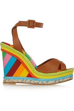 Printed leather, raffia and canvas wedge sandals #wedgesandals #women #covetme #valentino