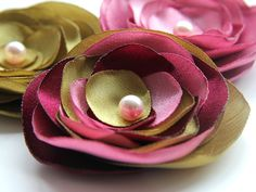 Green Pink and Deep Red Flower Brooch by gemsgallery on Etsy