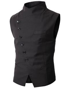 Doublju Mens Slim Vest with Asymmetry Button $34.99 http://steampunkclothingsource.com/steampunk-clothing-men/doublju-mens-slim-vest-with-asymmetry-button