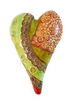 Bands of Lace with Red Brocade: Laurie Pollpeter Eskenazi: Ceramic Wall Art | Artful Home