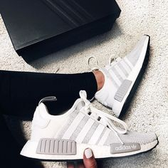 Adidas NMD White and Gray Shoes Source by mykazandolu adidas shoes Cute Sneakers, Grey Sneakers, Nmd Sneakers, Gray Shoes, Adidas Sneakers, Adidas Nmd Outfit, All White Shoes, Adidas Nmd R1, Basket Style