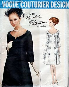 1960s Vogue Couturier Design 1758 Ronald by BessieAndMaive on Etsy, $75.00