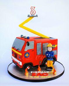 Fireman Sam Cake www.facebook.com/cakesbyxar Fireman Sam Birthday Cake, Thomas Birthday Cakes, Fireman Sam Cake, 2nd Birthday Boys, Fireman Party, Firefighter Birthday, Fire Engine Cake, Fire Fighter Cake, Fire Truck