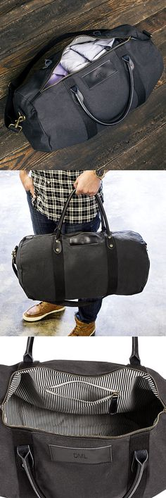 Groomsman Gift Idea - Give your best man and groomsmen a leather accented canvas duffle bag personalized with their monogram or single initial for a gift they can use every day for travel, the gym, sports, or play. Use each duffle bag as a gift basket to hold other gift items for each of your wedding attendants to discover when they open their bag. This black duffle bag is rugged and built to carry whatever a guy can throw into it.