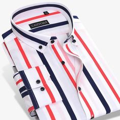 Vertical Striped Shirt, Striped Long Sleeve Shirt, Long Sleeve Shirts, Striped Shirts, Smart Casual Shirts, Smart Casual Men, Chemise Slim Fit, Shirt Collar Styles, Business Shirts