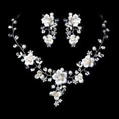 Beautiful-Silver-Crystal-Porcelain-Pearl-Bridal-Jewelry-Set
