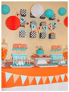 I love these colors together for a party theme...I would go with fish for Sawyer's 2nd birthday