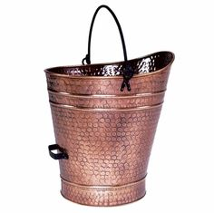 Pellet Bucket with Antique Copper Finish. Available at Higgins Energy Alternatives in Barre, MA
