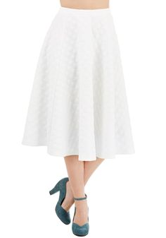 Bubble Whammy Skirt in Ivory - Long, Knit, White, Solid, Party, Vintage Inspired, 50s, A-line