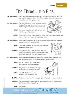 The Three Little Pigs Reader's Theater Drama Activities, Book Activities, Drama Games, Sequencing Activities, English Activities, Reading Skills, Teaching Reading, Reading Resources, Learning