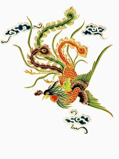 'Asian Art Chinese Phoenix' T-Shirt by Zehda Peacock Embroidery Designs, Embroidery Patterns, Hand Embroidery, Chinese Embroidery, Phoenix Drawing, Phoenix Art, Chinese Culture, Chinese Art, Mini Tattoos