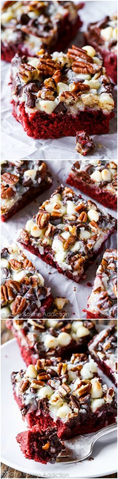 Red Velvet Seven Layer Bars-- there are seven layers to love in these over-the-top cookie bars!