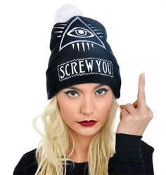 POM POM BEANIE - SCREW YOU - #infectiousthreads #goth #gothic #horrorpunk #punk #alt #alternative #psychobilly #punkrock #black #fashion #clothes #clothing #darkfashion #streetfashion #occult