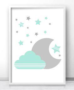 Mint Green And Gray Nursery Wall Art, Moon And Stars Nursery Decor, Printable Baby Wall Art, Cloud Nursery Art Print