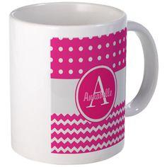 Pink Polka Dot Chevron Monogram Personalized Mugs on CafePress.com