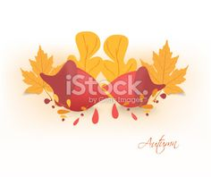 autumn background with acorns and leaves - Illustration