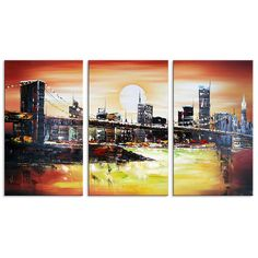 Famous New York City Bridge Cityscape Canvas Wall Art Oil Painting