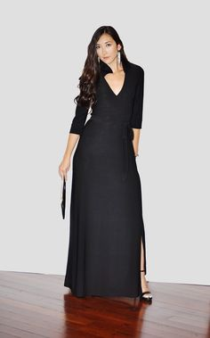 Black maxi wrap dress. Perfect for evenings.