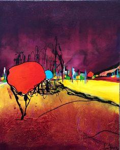 L'Orange Arbre (Peinture) par Nicolas Périgois Toile coton peinte avec des matières comme l'huile ,des encres,bombes aérosols et glycéro... Finition verni marin