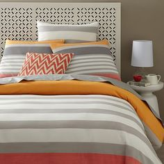 Color Block Stripe Duvet + Shams - Bergamot #westelm