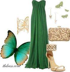Forest green long dress