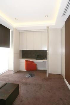 Concealed study in bedroom