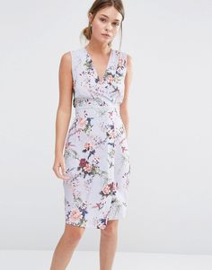 Image 1 ofCloset Wrap Front Midi Dress in Floral