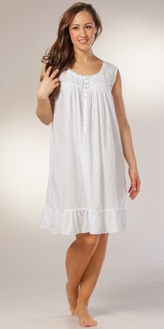 Short Eileen West Sleeveless White Cotton Gown - Simply Sweet in White