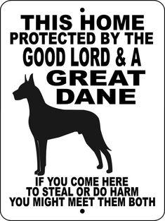 GREAT DANE Dog Sign 9x12 ALUMINUM glgd1 by animalzrule on Etsy