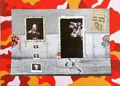 Warhol at The Factory (broken Windows series) 2014 cm 25×35 #inkonpaper #acryliconpaper #collageonpaper #drawing #warhol #andywarhol #workonpaper #paperpaint #paperart #monacoart #brokenwindows #figurativeart #illustration #popart