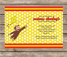 Curious George Inspired Personalized Colorful Printable Party Invitation - Invite. $15.00, via Etsy. Idea for Nolan.